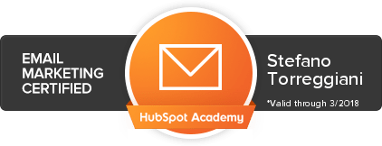 Stefano Torreggiani certificazione Email marketing certified HubSpot